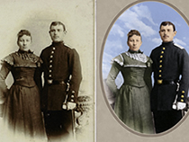 We can restore old, faded, torn or damaged images to their original splendor. Our image experts can also convert black and white photos to colour.
